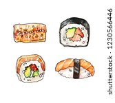 watercolor hand painted sushi... | Shutterstock . vector #1230566446