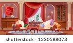 interior of dirty  living room  ... | Shutterstock .eps vector #1230588073