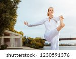 balanced pose. calm and... | Shutterstock . vector #1230591376