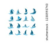 the ship is on the waves....   Shutterstock .eps vector #1230593743