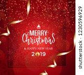 christmas vector festive red... | Shutterstock .eps vector #1230596929