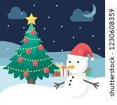 christmas tree and snowman... | Shutterstock .eps vector #1230608359