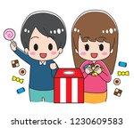 sweets grabbing event | Shutterstock .eps vector #1230609583