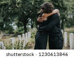 husband trying to comfort his... | Shutterstock . vector #1230613846