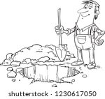 man with shovel digging a hole. ... | Shutterstock .eps vector #1230617050