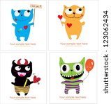 Set Of Four Cute Monster Card