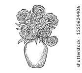 flowers in vase engraving...   Shutterstock .eps vector #1230624406