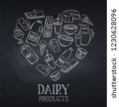 chalkboard dairy product layout.... | Shutterstock .eps vector #1230628096