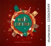 merry christmas paper cut... | Shutterstock .eps vector #1230634549