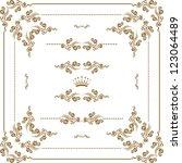 vector set of gold decorative... | Shutterstock .eps vector #123064489