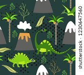 cute kids dinosaurs pattern for ... | Shutterstock .eps vector #1230647560