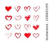 handdrawn vector grunge hearts... | Shutterstock .eps vector #1230651193