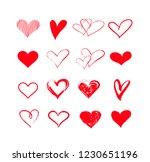 handdrawn vector grunge hearts... | Shutterstock .eps vector #1230651196