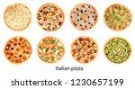 italian pizza set isolated on... | Shutterstock . vector #1230657199