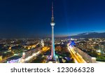 Stock photo berlin skyline city panorama with blue sky famous landmark in berlin germany europe 123066328