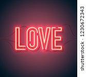 neon sign. retro neon love sign ... | Shutterstock .eps vector #1230672343