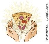 female hands catching the slice ...   Shutterstock .eps vector #1230686596