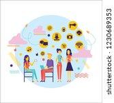 flat design of people addicted... | Shutterstock .eps vector #1230689353