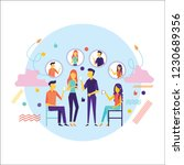 flat design of people addicted... | Shutterstock .eps vector #1230689356