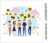 flat design of people addicted... | Shutterstock .eps vector #1230689359