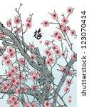 vector plum blossom translation ... | Shutterstock .eps vector #123070414