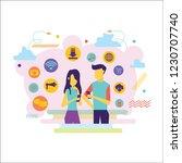 social media background with... | Shutterstock .eps vector #1230707740