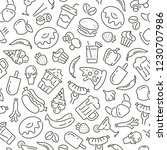 seamless pattern with food and... | Shutterstock .eps vector #1230707986