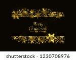 gold glitter snowflake frame ... | Shutterstock .eps vector #1230708976