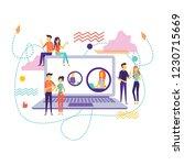 laptop over social media and... | Shutterstock .eps vector #1230715669