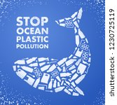 stop ocean plastic pollution.... | Shutterstock .eps vector #1230725119