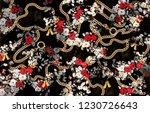 flowers leopard  baroque chain... | Shutterstock . vector #1230726643