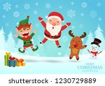 merry christmas. santa claus ... | Shutterstock .eps vector #1230729889