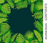 tropical leaves background.... | Shutterstock .eps vector #1230735373