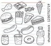 set of fast food in doodle... | Shutterstock .eps vector #1230752719