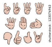 set of human cartoon hands... | Shutterstock .eps vector #123076963
