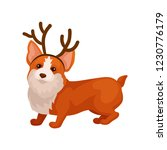 funny corgi dog with reindeer... | Shutterstock .eps vector #1230776179