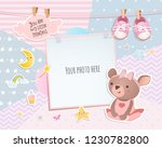 Stock vector baby girl shower card teddy bear arrival card with place for your photo 1230782800