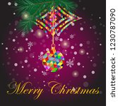 a multicolor christmas ball on... | Shutterstock .eps vector #1230787090