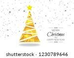 yellow christmas tree greeting... | Shutterstock . vector #1230789646