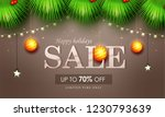 happy holidays sale with golden ... | Shutterstock .eps vector #1230793639