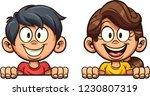 happy cartoon boy and girl... | Shutterstock .eps vector #1230807319