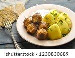 swedish meatballs with potatoes.... | Shutterstock . vector #1230830689