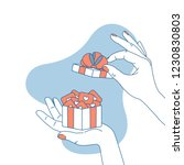 woman hand holding a gift box... | Shutterstock .eps vector #1230830803