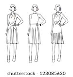 fashion sketch design elegance... | Shutterstock .eps vector #123085630