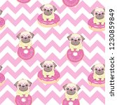 Stock vector pink seamless pattern with funny pug and donut 1230859849