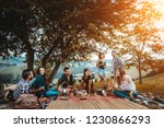 group of young happy friends... | Shutterstock . vector #1230866293