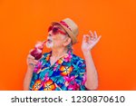 funny and extravagant senior... | Shutterstock . vector #1230870610