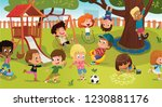 group of kids playing game on a ... | Shutterstock .eps vector #1230881176