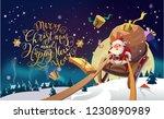 santa in a winter village... | Shutterstock .eps vector #1230890989