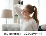 exhausted young female sit on... | Shutterstock . vector #1230899449